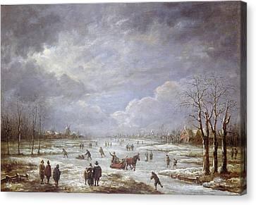 Winter Landscape Canvas Print by Aert van der Neer