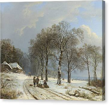 Winter In The Country Canvas Print - Winter Landscape by Barend Cornelis Koekkoek