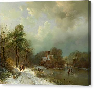 Canvas Print featuring the painting Winter Landscape - Holland by Barend Koekkoek
