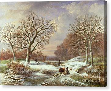 Winter Landscape Canvas Print by Louis Verboeckhoven