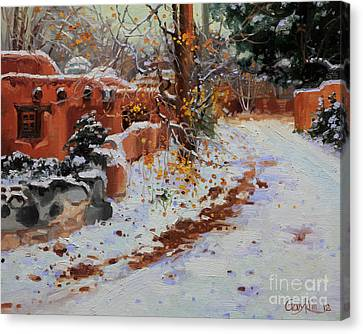 Winter Landscape Of Santa Fe Canvas Print by Gary Kim