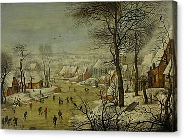 Winter Landscape With A Bird Trap Canvas Print by Pieter Brueghel the Younger