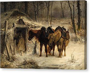 Winter Landscape With A Huntsman And Horses Canvas Print