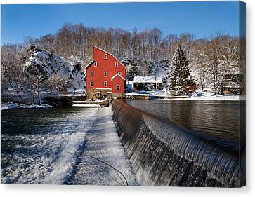 Winter Landscape With A Red Mill Clinton New Jersey Canvas Print by George Oze