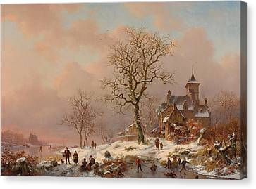 Winter Landscape With Figures Playing On The Ice Canvas Print by Frederick Marianus Kruseman