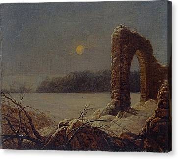 Snowy Night Night Canvas Print - Winter Landscape With Ruined Arch by Celestial Images