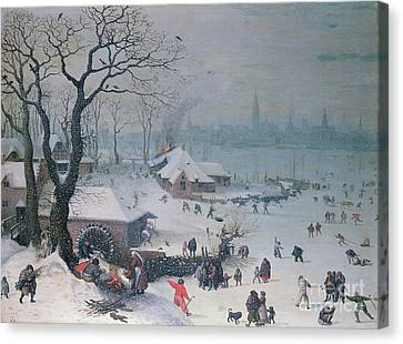 Snow-covered Landscape Canvas Print - Winter Landscape With Snowfall Near Antwerp by Lucas van Valckenborch