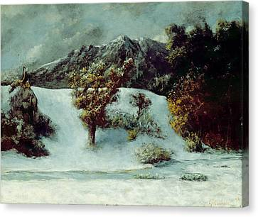 Midi Canvas Print - Winter Landscape With The Dents Du Midi by Gustave Courbet