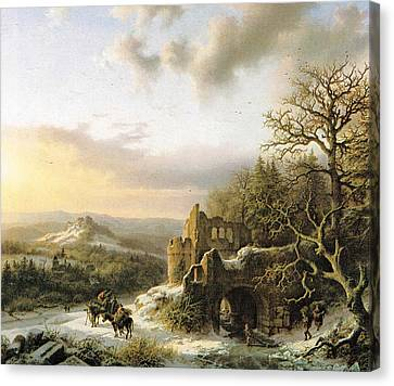 Winter Landscape With Peasants Gathering Wood Canvas Print