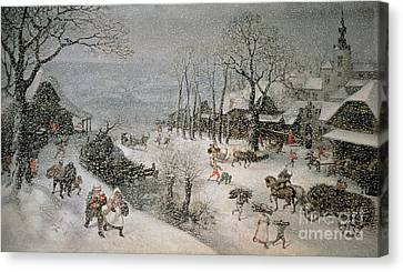 Horse And Cart Canvas Print - Winter by Lucas van Valckenborch