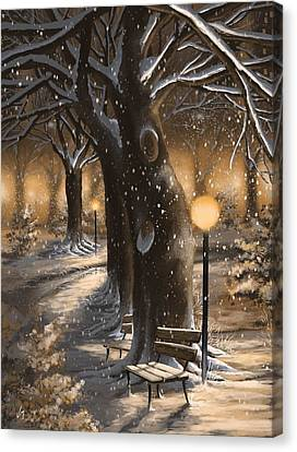 Canvas Print featuring the painting Winter Magic by Veronica Minozzi