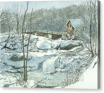 Winter Mill Canvas Print by Lynn Babineau