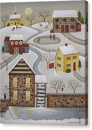 Winter Mill Canvas Print by Mary Charles