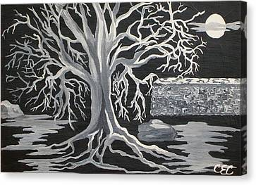 Winter Moon Canvas Print by Carolyn Cable