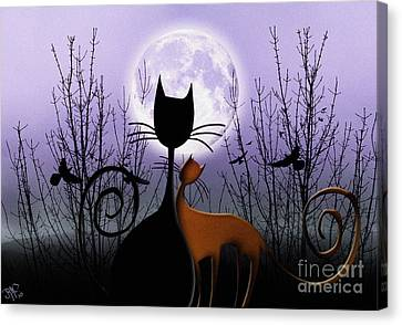 Canvas Print featuring the digital art Winter Moon Cats In Love by Rosa Cobos