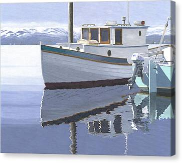 Winter Moorage Canvas Print by Gary Giacomelli