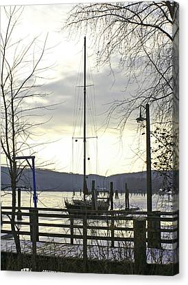 Winter Mooring Canvas Print by Gerald Mitchell