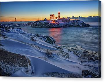 Cape Neddick Lighthouse Canvas Print - Winter Morning At Cape Neddick by Rick Berk