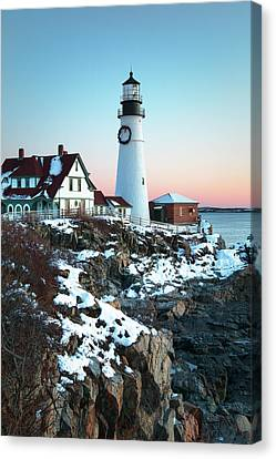 Winter Morning At Portland Head Lighthouse Canvas Print by Eric Gendron