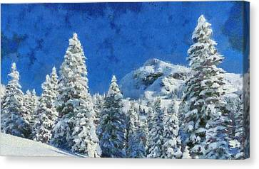 Winter Morning Landscape - Snow Pine Trees On A Mountain Canvas Print by Wall Art Prints