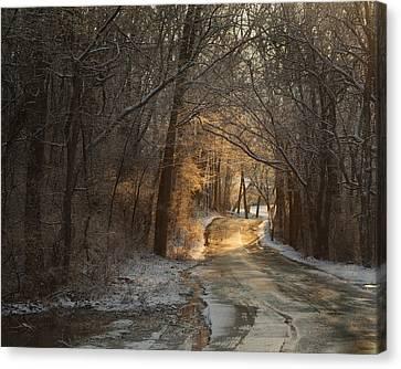 Winter Morning Road Canvas Print