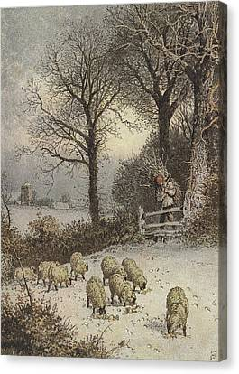 Winter Canvas Print by Myles Birket Foster