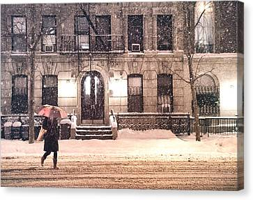 City Streets Canvas Print - Winter - New York City - Snow Falling by Vivienne Gucwa
