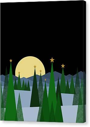 Snowy Night Night Canvas Print - Winter Night Full Moon by Val Arie