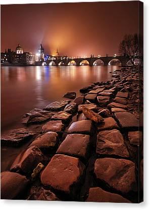 Winter Night Near Charles Bridge In Prague, Czech Republic Canvas Print