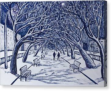 Winter Night.on The Walkway In The Park. Canvas Print