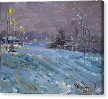 Winter Nocturne By Niagara River Canvas Print by Ylli Haruni