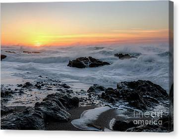 Winter Ocean At Sunset Canvas Print by Masako Metz