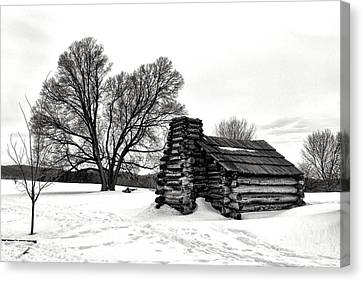 Log Cabin Canvas Print - Winter Of Hope And Sorrow  by Olivier Le Queinec