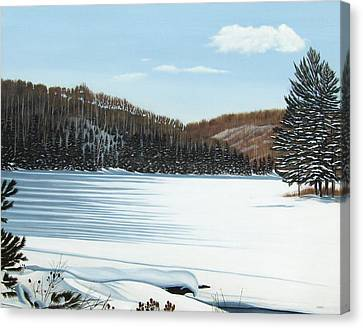 Winter On An Ontario Lake  Canvas Print by Kenneth M  Kirsch