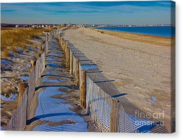 Winter On Duxbury Beach Canvas Print by Amazing Jules