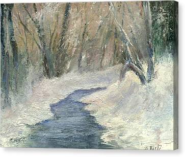 Canvas Print featuring the painting Winter On Stormcreek by Gail Kirtz