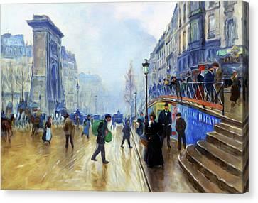 The Boulevards Canvas Print - Winter On The Boulevard by Georgiana Romanovna