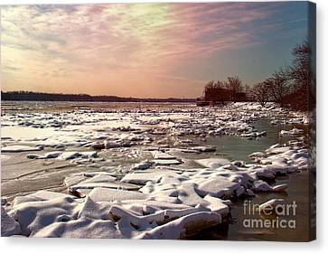 Winter On The Delaware Canvas Print