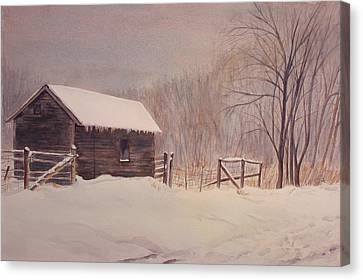 Winter On The Farm  Canvas Print by Debbie Homewood