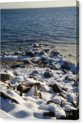 Canvas Print featuring the photograph Winter On The Long Island Sound by Kristine Nora