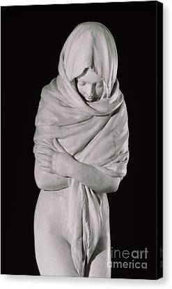Covering Up Canvas Print - Winter Or The Chilly Woman by Jean-Antoine Houdon