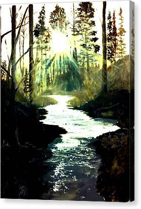 Winter Over Almond Creek Canvas Print by Travis  Ragan