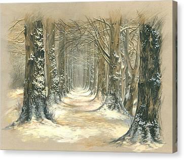Winter Parkway Canvas Print by Zorina Baldescu