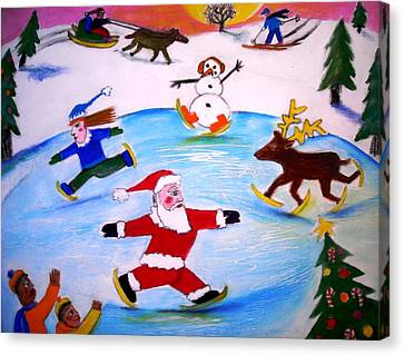 Winter Party With Santa And Rudolph Canvas Print by Ward Smith