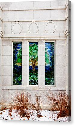 Trees Canvas Print - Winter Quarters Temple Tree Of Life Stained Glass Window Details by Greg Collins