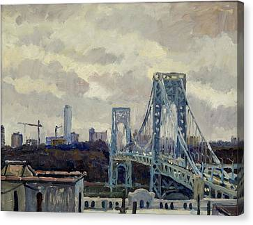 Winter Rain George Washington Bridge Canvas Print by Thor Wickstrom