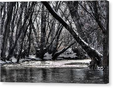 Winter River Bend Canvas Print by David Andersen