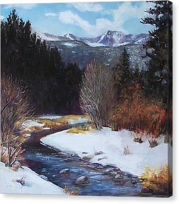 Winter River Bend Canvas Print by Donna Munsch