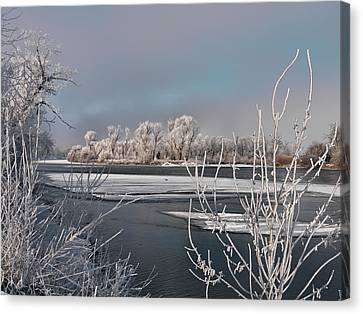 Winter River Light Canvas Print by Leland D Howard