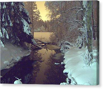 Canvas Print featuring the photograph Winter River by Sami Tiainen